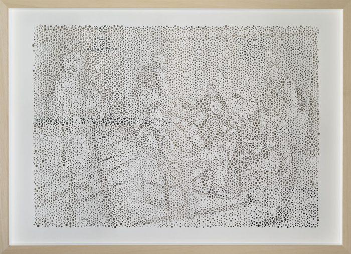 untitled (Etappenquartier), gelochtes Papier, Zeitung, 50 x 70cm, 2012