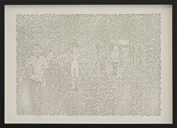 untitled (Trang Bang),  gelochte Farbpapiere, Acryl, 50 x 70cm, 2012